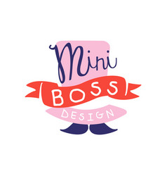 Mini boss logo design with hand drawn lettering vector