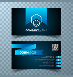 Modern blue business card design template vector