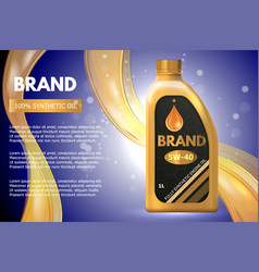 Motor oil product container ad 3d vector