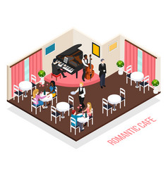Musicians romantic cafe isometric composition vector