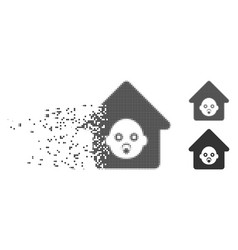 Nursery house disappearing pixel halftone icon vector
