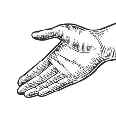 Open hand palm gesture engraving vector