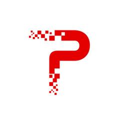 P pixel logo template vector