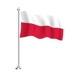 polish flag isolated wave flag poland country vector image