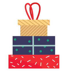 presents in boxes with wrapping paper for holidays vector image