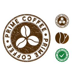 Prime coffee stamp with grunge style vector