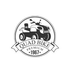 Quad Bike Premium Label Design Black And White vector