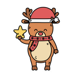 reindeer with scarf and hat decoration merry vector image