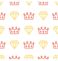 Royal crown and brilliant on seamless pattern vector