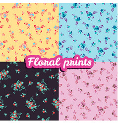 set floral prints seamless texture vector image