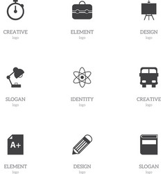 Set of 9 editable knowledge icons includes vector