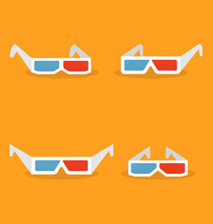 set of paper 3d glasses in flat style vector image