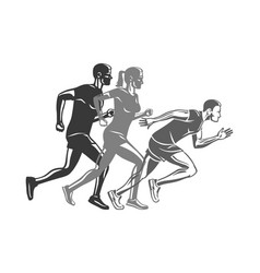 Set of runners silhouettes logo for sport company vector