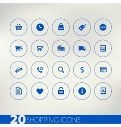 Shopping blue icons on light background vector