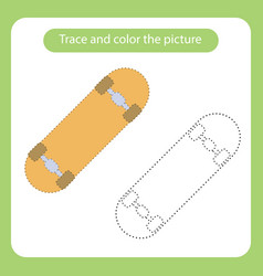 skateboard toy with simple shapes trace and color vector image