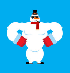 snowman strong snowman serious powerful hard vector image