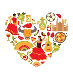 Spain heart print vector image