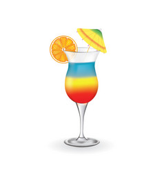 summer cocktail with orange and umbrella vector image