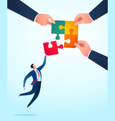 take a jump uniting puzzle vector image