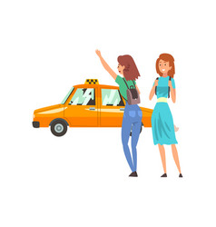 taxi service female clients hailing a taxi car vector image