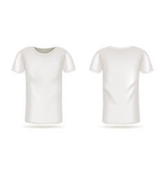 template white t-shirt front and back view vector image