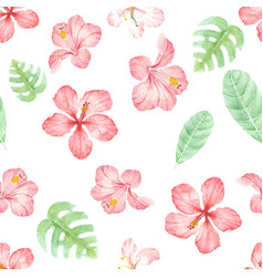 watercolor hand draw summer red hibiscus flower vector image