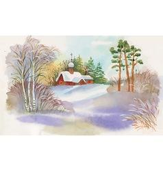 Watercolour landscape design vector