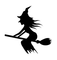 Witch seating broom with dress and hat vector