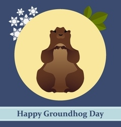 with groundhog and text vector image