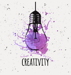 with hanging grunge light bulb watercolor vector image