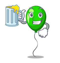With juice green ballon with cartoon ribbons vector