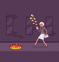Young carefree woman walking with phone fire pit vector
