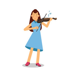 Young woman playing a violin cartoon character vector