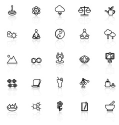 Zen concept line icons with reflect on white vector image