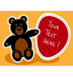 Cartoon black bear with sign vector image vector image