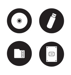 Data storage devices black icons set vector image vector image