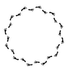 Footprints black and white circle frame vector image