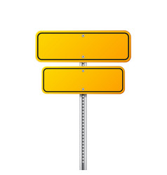 road yellow traffic sign blank board with place vector image