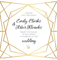 wedding geometrical invitation invite card design vector image