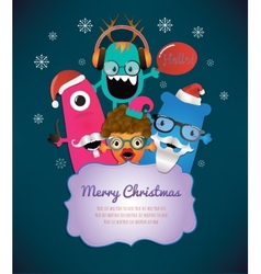Monster Merry Christmas Card Design vector image