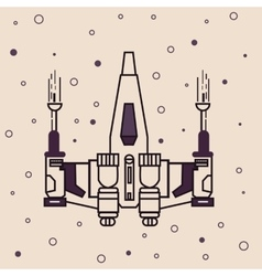 Space craft fighter jet futuristic icon drawing vector