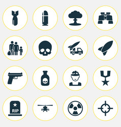 battle icons set collection of dangerous cranium vector image