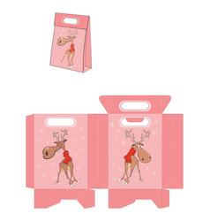 Christmas deer handbags packages pattern vector