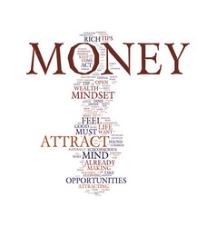 Mindset to attract money text background word vector