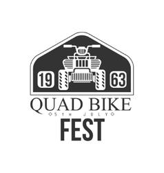 Quad bike event label design black and white vector
