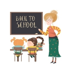Teacher by blackboard with pupils vector image