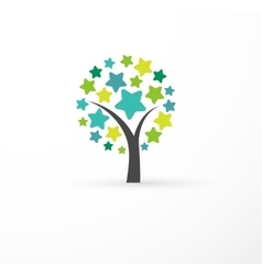 Tree with stars - education learning icon vector