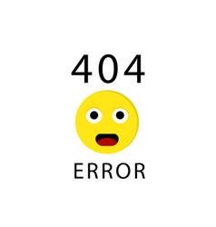 404 connection error with face emoticon or emoji vector image
