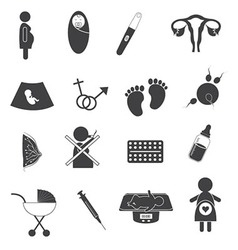 Pregnant and Maternity Icons Set vector image vector image