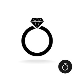 Wedding engagement ring simple black icon with vector image vector image